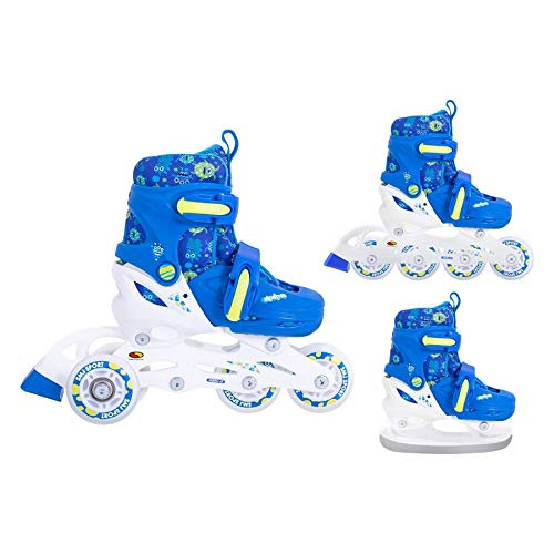 SMJ Monster Kinder Skating Set 3in1 Inliner/Rollschuhe/Schlittschuhe VERSTELLBAR | ABEC5 Inline Skates | Umbaubar zu Eislaufschuhe (XS (26-29))