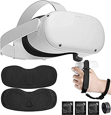 Oculus Quest 2, Advanced All-in-One Virtual Reality Gaming Headset for Family Christmas Holiday, 64GB White, Bundle with TSBEAU Lens Cover & Lens Cloth & Experience Velcro Tie & Controller Hand Strap