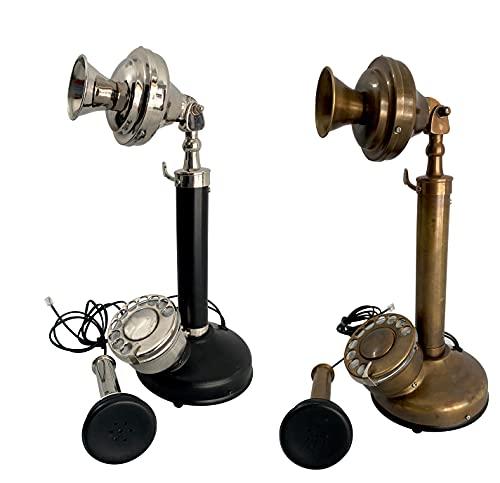 Teléfonos decorativos vintage candelabro retro con cable fijo rotatorio teléfono hecho de latón real y clásico botón de dial piezas