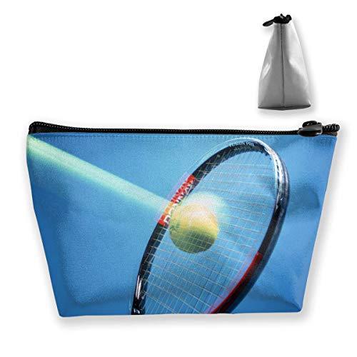 Hipiyoled Bolsa de almacenamiento trapezoidal portátil para raqueta de tenis con gráficos para cosméticos y artículos de aseo con cremallera para guardar lápices
