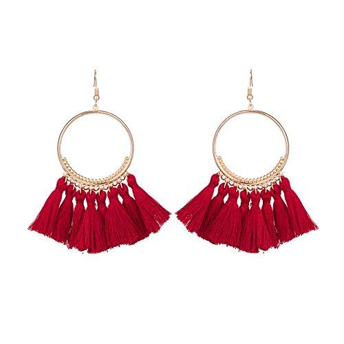 Chytaii Pendientes Mujer Pendientes Largos con Flecos Viento Nacional Pendientes de Círculo de Metal Accesorios Damas Pendientes Multicolor. (Rojo)
