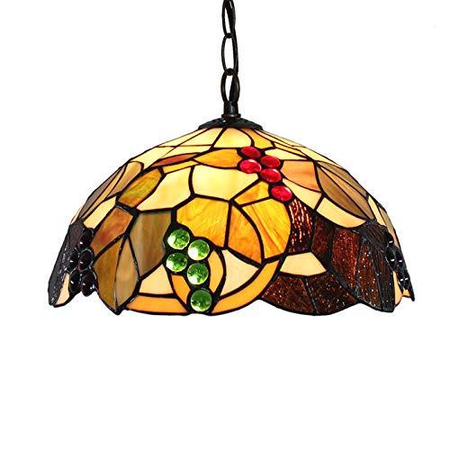 HHKQ Lampadario Tiffany Stile Cucina, Vintage Frutta Plafoniere Lampadario per Cucina Soggiorno Camera da Letto 12 Pollici Soffitto Lampadario con Paralume in Vetro Colorato, E27