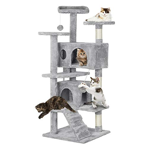 Topeakmart 51 inches Multi-Level Cat Tree Condo with Scratching Posts Kitty Activity Tower