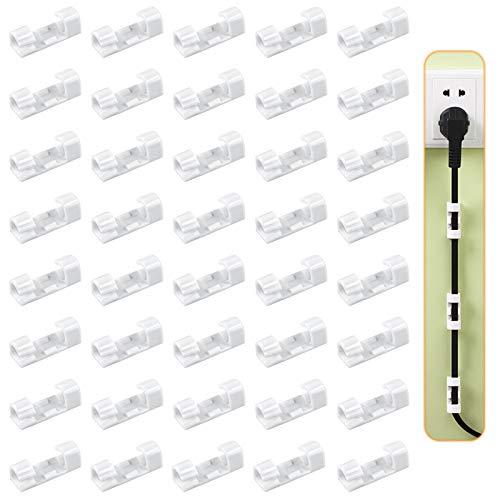 Yangfei 80pcs Clips de Cables Adhesiva Abrazadera Cable, Sujeta Cables Pared Soporte Cables Escritorio Sujeta Cables Adhesivo, Clips para Cable de USB, TV, Cargador, en Hogar, Oficina y Coche (blanco)