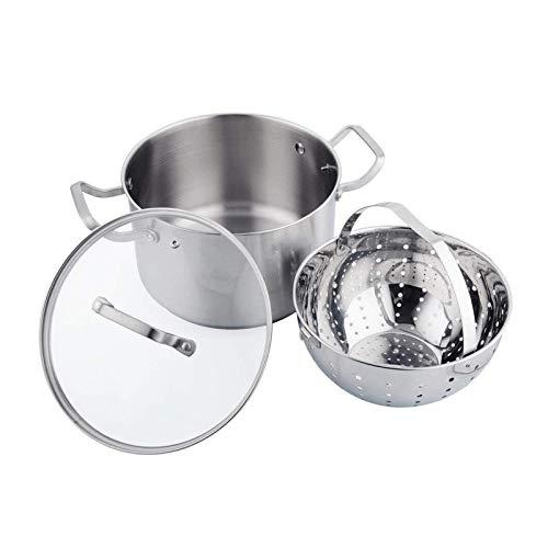 Pan Ensembles durables Pot à la vapeur multifonctions en acier inoxydable de qualité alimentaire avec la séparation de séparation de résidus de soupe Pot de pot essentiel (couleur: argent, taille: 24c