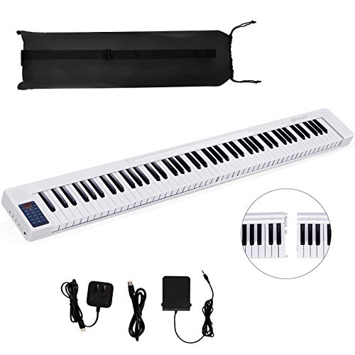 Costzon 88 Key Attachable Electric Piano Keyboard, Portable Full-Size Touch Sensitive Keys with 128 Rhythms/Tones, Stereo Speakers, Sustain Pedal, Bluetooth, Piano Bag for Beginners Kids Adult (White)
