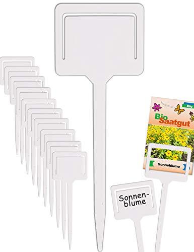 HomeTools.eu® - 10 Pflanz-Schilder, Steck-Etiketten, Pflanzen-Stecker, Kräuter-Beet, Gewächs-Haus, Beschriftung, Kunststoff beschreibbar, mit Klemme für Saatgut-Beutel, Wetter-fest, 18cm, weiß