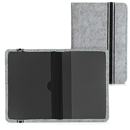 kwmobile Funda para permiso de circulación de coche - Carcasa protectora con tapa para tarjetas - Diseño de fieltro - negro/gris