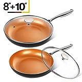 "Best Nonstick Pans - MICHELANGELO Copper Frying Pan Set with Lid, 8"" Review"