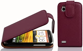 Cadorabo Case works with HTC Desire X in PASTEL PURPLE - Flip Style Case made of Structured Faux Leather - Wallet Etui Cov...