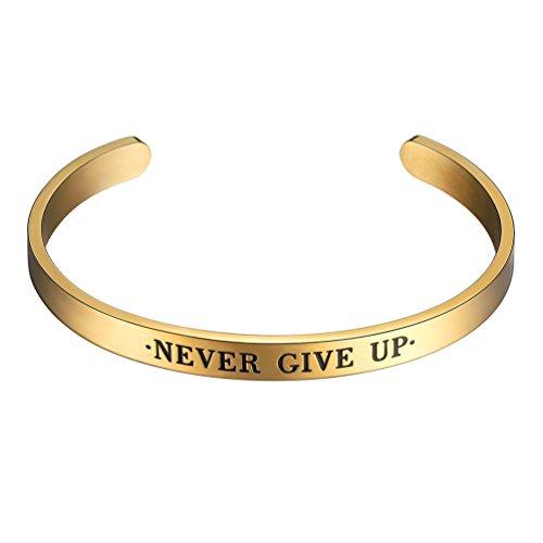 PROSTEEL Never Give Up Bracciale Aperto Regolabile Incisione di Frase Incoraggiante Positiva Acciaio Placcato Oro 18K Oro