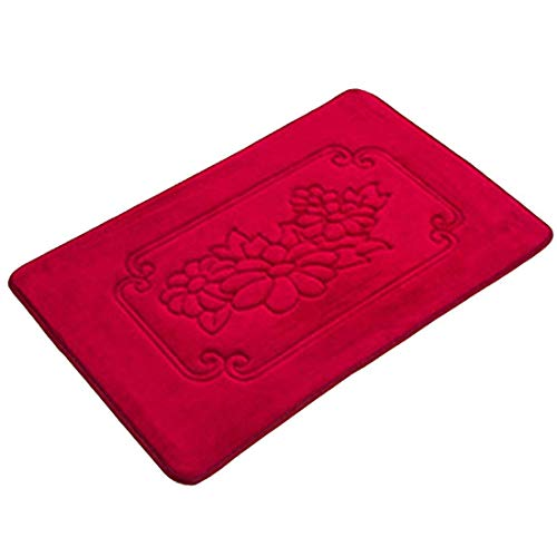 Bikofhd Indoor Felpudo Soft Absorbent Non Slip Entrance Bath Mats Machine Washable Indoor Rugs Bathroom/Kitchen Welcome Inside Floor Dirt Trapper Mats 15.7X23.6,Wine Red