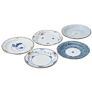 西海陶器 波佐見焼 皿 和皿 染錦 絵変り 直径16 cm 5枚セット 31989