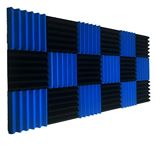 Lot de 12 dalles d'isolation acoustique en mousse Bleu/noir 5,1 x 30,5 x 30,5 cm