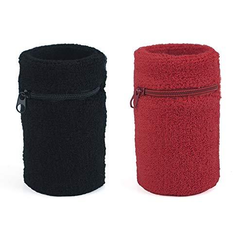 GOGO 2 x Schweißband Handgelenk Unisex Sport Wristbands mit Reißverschlusstaschen
