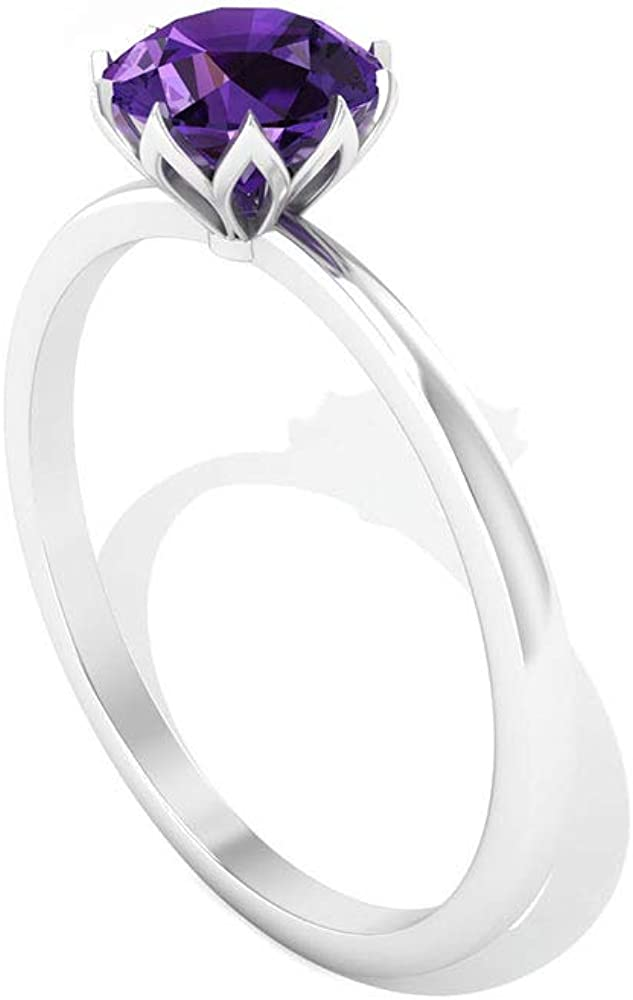 0.70CT Solitaire Round SGL Certified Amethyst Engagement Ring, Solid 14k Gold Lotus Set Purple Gemstone Wedding Ring, February Birthstone Promise Ring, 14K Gold