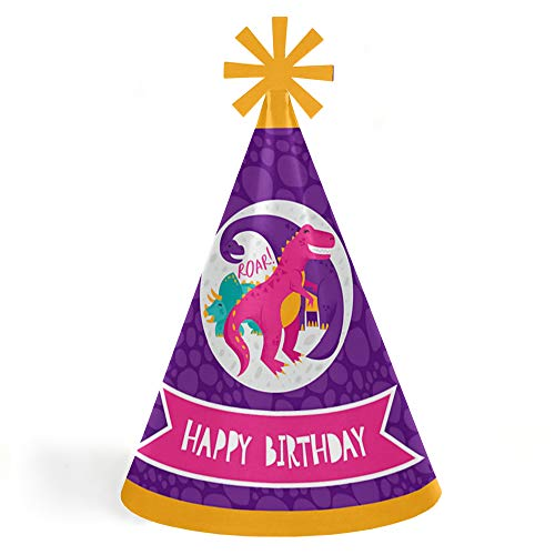 Roar Dinosaur Girl - Cone Happy Birthday Party Hats for Kids and Adults - Set of 8 (Standard Size)