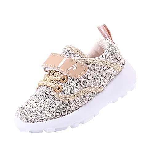 EIGHT KM Zapatos para niños pequeños/niñas Zapatillas de Deporte Ligeras para niños EKM7024 Crochet Beige Talla 21
