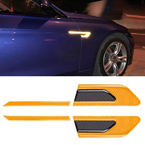 NIHAOA Vídeo del Coche 2 PCS de Fibra de Carbono de Coches-Styling Fender Reflectante Parachoques Tira Decorativa, Reflejo Externa + Interna de Fibra de Carbono (Azul). (Color : Yellow)