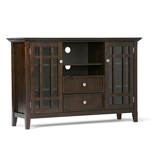 Simpli Home Bedford SOLID WOOD Universal Tall TV Media Stand, 53 inch Wide, Farmhouse Rustic, Storage Cabinet with Glass Doors, for Flat Screen TVs up to 60 inches Dark Tobacco Brown