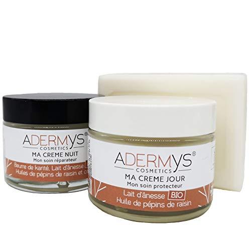 S&B Provence - Adermys® Cosmetics - Lot 2 Crèmes Lait Ânesse Bio - Ma Crème Jour\