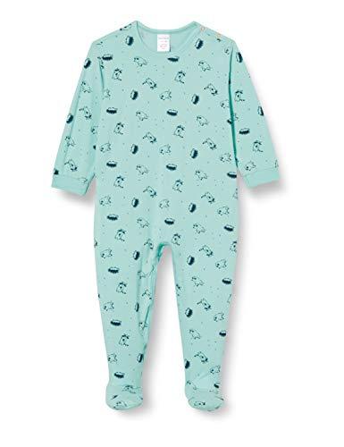 Schiesser Unisex Baby Anzug mit Fuß Kleinkind-Schlafanzüge, Mint, 068