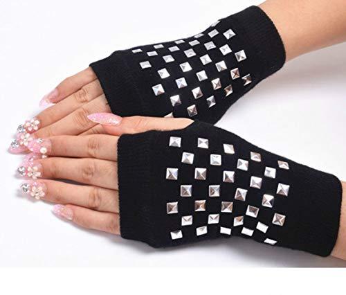 ERS Guantes de Exterior Sin Dedo Tejer con Medio Dedo Bordado Fino Protección Solar con Diamantes Expuesto al Dedo