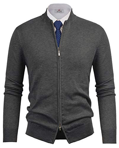 Paul Jones Mens Full-Zip Cardingan Sweater Baseball Jacket Dark Grey, M