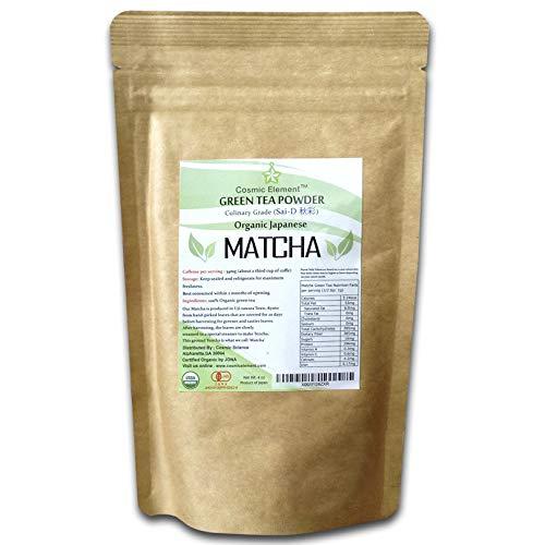 Cosmic Element Matcha Green Tea Powder   USDA Organic, 100% Pure Japanese – Excellent Source of Antioxidants, Helps Increase Energy and Improve Focus, Culinary Tea Grade Kiyo (4 Ounce/113 Grams)