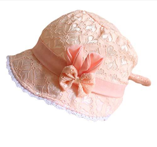 bbzzaa Sommer Baby Sonnenhut Spitze Blume Prinzessin Mädchen Kappe einfarbig hohl Kinderhut Retro Schnürung Palace Beanie-Orange