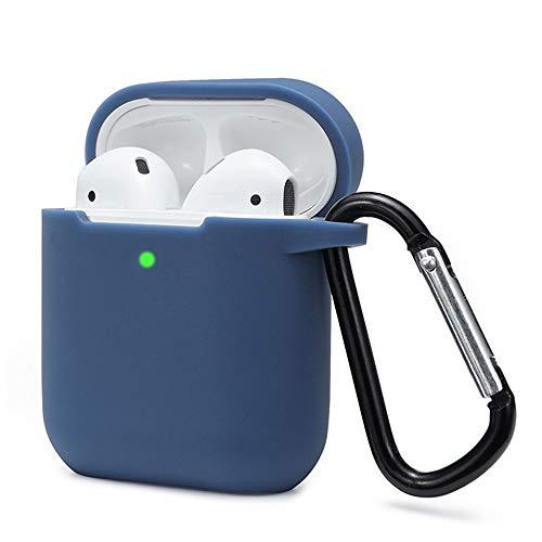 Preisvergleich Produktbild Airpods Schutzhülle Hülle Kompatibel mit AirPods 2 & 1,  KOKOKA Silikon AirPods Schutzhülle hülle [LED an der Frontseite Sichtbar][Stoßfeste Schutzhülle] Königsblau
