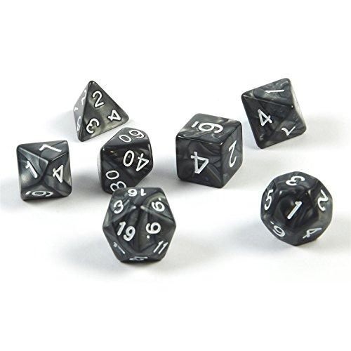 7 polyedrische Würfel für Rollen- und Tabletopspiele in schwarz mit Beutel