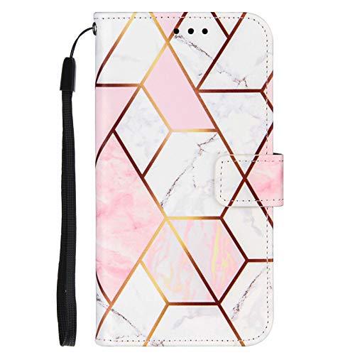 TYWZ Funda para iPhone 6S Plus/6 Plus, mármol, piel sintética, diseño geométrico, con mármol, con tarjetero, funda protectora con cierre magnético, color rosa