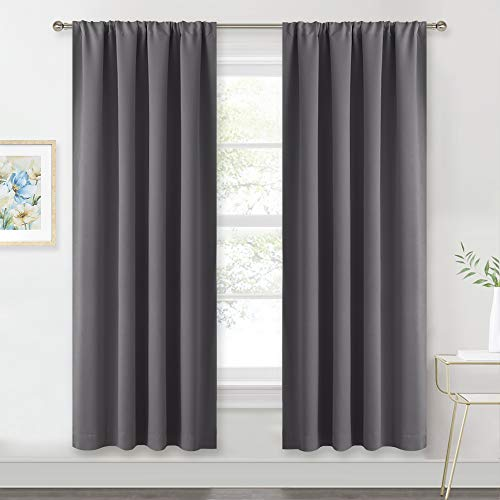 RYB HOME Living Room Blackout Curtains Gray (42 Width by 72 Length, Grey, 2 Pieces) Window Covering Rod Pocket Top Slot Curtain Panels Privacy Protect Light UV Block for Kids Room Nursery