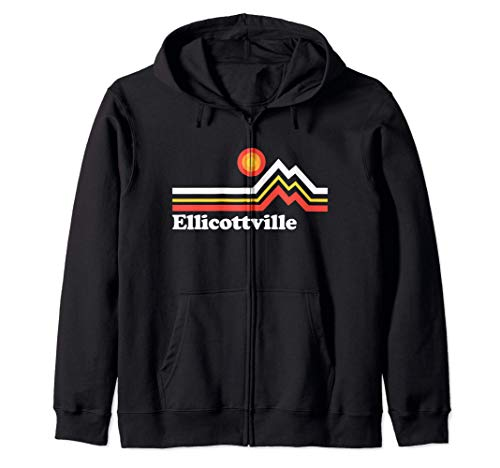Ellicottville NY Retro Vintage Mountain Zip Hoodie