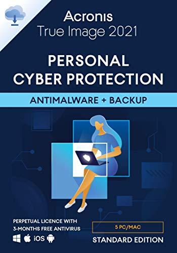 Acronis True Image 2021 – Cyber protection personnelle | Sauvegarde et protection antivirus intégrées | Standard Perpetual Edition | 5 appareil | PC/Mac | Code d'activation - envoi par email