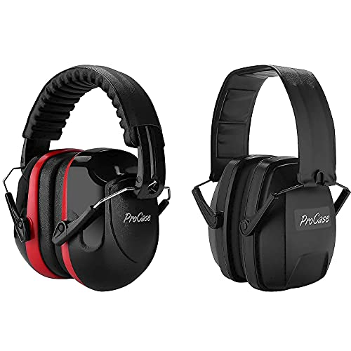 ProCase Noise Reduction Ear Muffs, NRR 28dB Shooters Hearing Protection Headphones Headset Bundle with Lightweight NRR 28dB Shooters Hearing Protection Headphones
