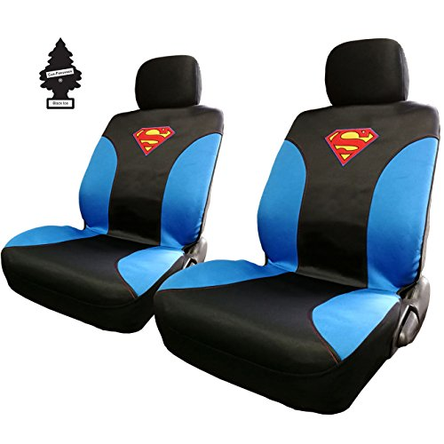 Yupbizauto Pair of New DC Comic Superman Sideless Neoprene Waterproof Car Seat Covers with Air Freshener