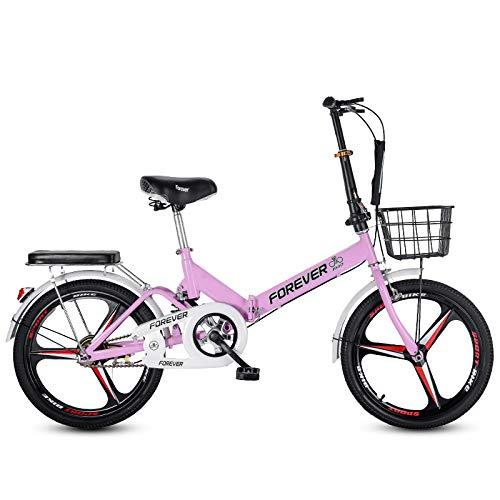 LHR Klapprad, 16-zoll-20-zoll-mini-fahrrad Mit Variabler Geschwindigkeit, Kleines Rad, Integrierter Reifen, Geeignet Für Erwachsene Schüler, Jugendliche,4pink,20inch