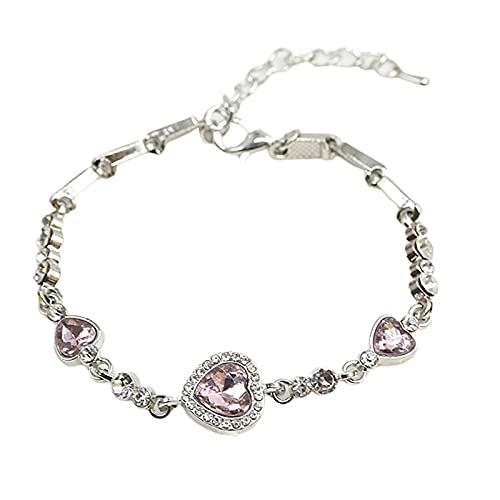 Suzanne Pulsera para mujer, con forma de corazón, color azul, ajustable, joyería de plata, cumpleaños, aniversario, día de la madre, regalo para mamá, esposa, hija, rosa claro