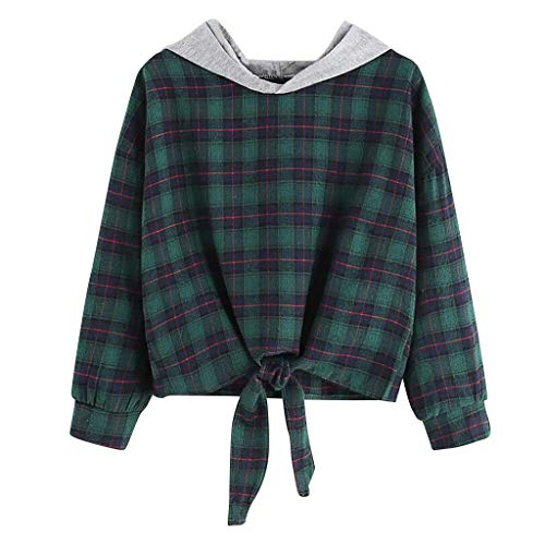 COOKI Women's Long Sleeve Plaid Print Crop Tops Hoodies Sweatshirts Junior Teen Girls Pullover Jumper Sweater Hooded Tops Green