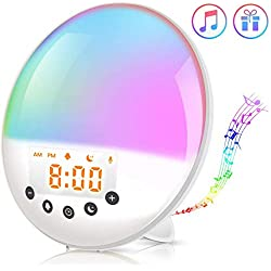 PBQWER Smart Wake Up Light, Wake Up Light Alarm Clock Sunrise Simulation and Sunset Fading, Touch Control and Snooze Function, Multiple Colors Lights