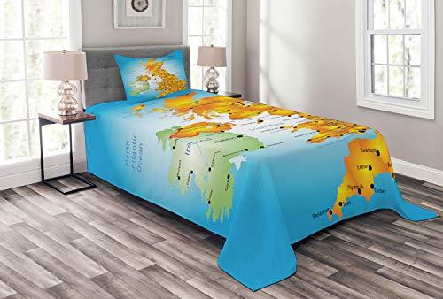 ABAKUHAUS Karte Tagesdecke Set, Vereinigtes Königreich Land, Borders, Set mit Kissenbezügen farbfester Digitaldruck, für Einselbetten 170 x 220 cm, Sky Blue Multicolor