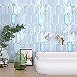 VANCORE 3D Mosaic Peel and Stick Backsplash Wallpaper Stick on Bathroom Kitchen Wall Tile Backsplash Self Adhesive (4 Sheets,Light Purple)