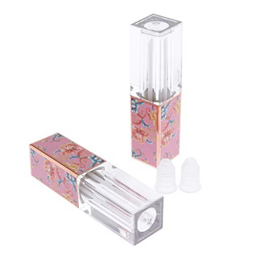 SM SunniMix 2pcs Bouteilles Vide Conteneurs de Baume à Lèvres Vide Plastique DIY Vide Tube Rouge à Lèvres avec Couvercle et Baguette - 01