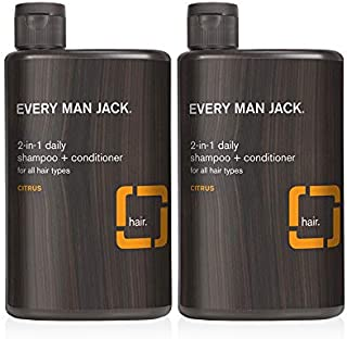 Every Man Jack 2-in-1 Daily Shampoo + Conditioner - | 13.5-ounce Twin Pack - 2 Bottles Included | Naturally Derived, Parab...