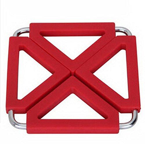 Fyrkantig rostfritt stål silikon grytlappar grytlappar krukhållare, värmebeständig matta (röd)