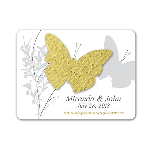 Bloomin Plantable Butterfly Wedding Favor with Seed Paper - Chartreuse (25 Card Set)