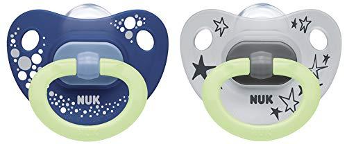 NUK Happy Nights fopspeen met lichteffect, 6-18 maanden, siliconen, 2 stuks met fopspeen doos, blauw