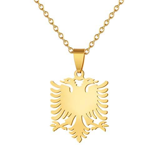 Repubblica europea di Albania bandiera aquila collane con pendente per uomo donna acciaio inossidabile colore oro bandiera simbolo simbolo gioielli regalo